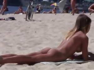 Amazing young nudists touch each other's bodies