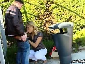Amateur Spanish blondie babe Kazzandra pussy pounded in public