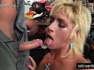Perky boobed slutty blonde giving head on knees