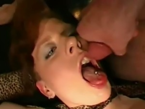 Redheaded german slut bukkake