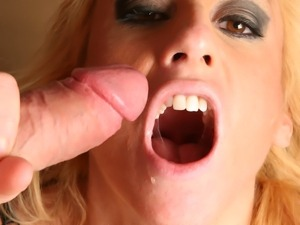Regan Anthony meets a huge pole in her mouth