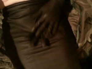 Leather skirt glovejob