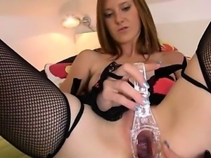 Gyno toys and peeing of her nasty hole