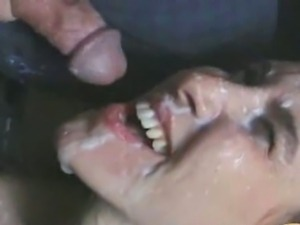 Babysitter gets a messy cum facial