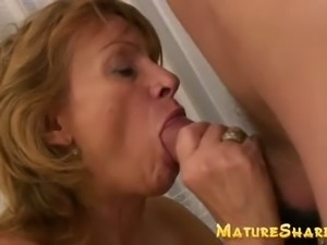Mature hairy blows big young cock