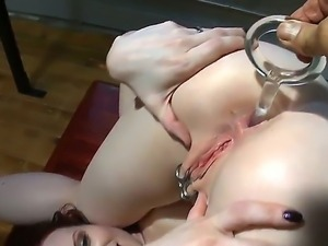 Pale and lusty redhead with pierced cllit Claire Adams enjoys in getting her...