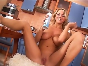 A blue immense dildo penetrates deep a wet pussy of the attractive blonde Naelya
