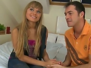 James Brossman sduces young hot blonde Milla and strokes her awesome bubble...
