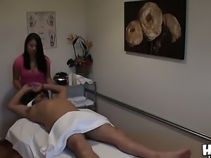 The appetizing Asian Kiwi Ling makes the massage to her client Alec and...