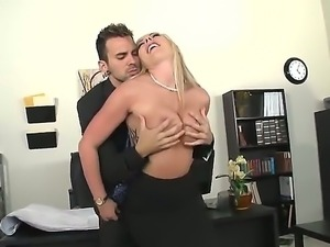 Nice blonde babe with huge titties Skylar Price is seduced by her coworker...