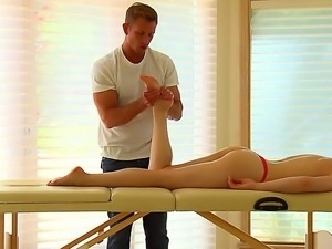 Bill Bailey turns wild when having to massage hot babe Lily Lebeau and her...