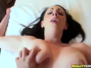 Young dark haired chick Tiffany Love with shaved pussy and
