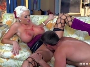 Summer Brielle is a huge titted slut. Blonde in fishnets