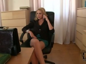 Lovely office blonde Bernice in pretty short green dress flashes
