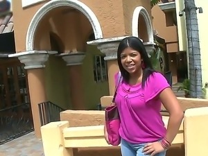 The pretty ebony whore Widdow with a natural tits gets seduced on a street...