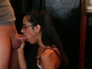 Black haired chick Presley Hart with glasses is curious about