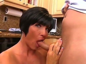 Super busty brunette milf Shay Fox makes a fucking break during dull cooking...