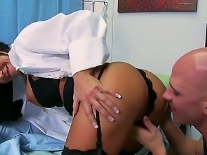 Arousing nurse Savannah Stern makes hot patient Johnny Sins to fuck her...