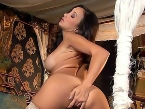 Glamorous asian pornstar Katsuni with steaming body in stockings fingers her...