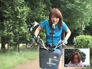 Asian teen sweeties riding bikes with dildos in their cunts