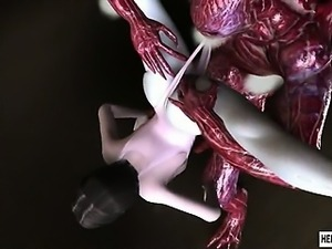 Caught 3d ballerina girls gets brutally fucked by tentacles and monsters