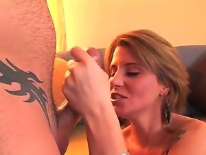 Blonde hottie Summer Storm has intense pleasure when deepthroating this huge...