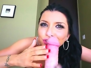 Voluptuous Romi Rain is delighting Jonni Darkko with wild deepthroating and...