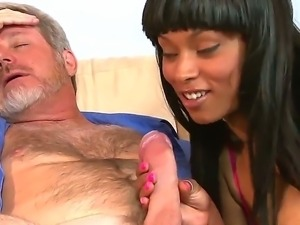 Slutty black Porscha Carrera with natural juicy tits in short skirt gives...