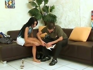 Petite and ultra-hot brunette girl Suzy Black came at the casting. She wants...