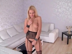 Flirty blondie Cherry Kiss in black mesh stockings and tiny