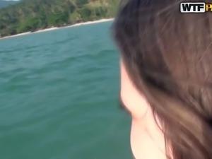 Sweet teen girl Abbey in tiny bikini has fun swimming