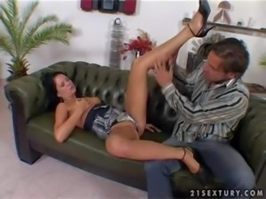 Black haired hot ass Jane with small boobs and long