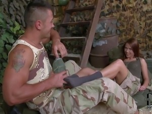 Redhead hottie Denise enjoys in giving head to her soldier