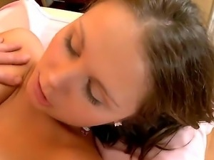 Pretty cutie was given erotic massage by a dirty masseur and was fucked by him