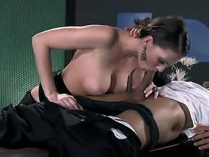 Crazy hot secretary Jennifer Dark becomes horny with her boss Keni Styles...