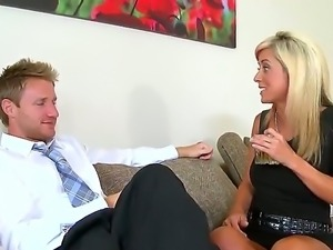 Sexy elegant babe is about to be fucked by a guy from work, who she barely knows