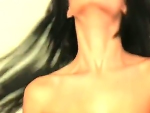 Sweet angel with long hair ,pretty face and amazing body masturbates and gets...