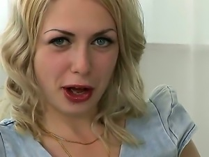 Provocative blonde with appetizing ass Isabella Clark in the interview scene