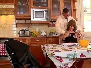 Sweet and young lady Charlyse Bella gets her stepfathers dick in the kitchen