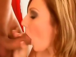 Slutty blonde babe gives a mind blowing blowjob before her cunt gets the...