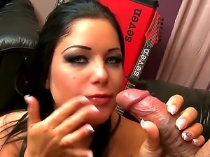 Brunette Angelica Heart loves to swallow after sucking on a huge dick in oral...