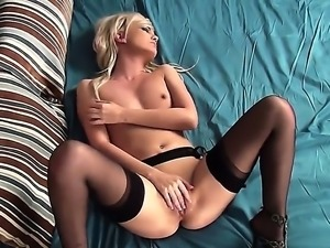 Have fun with juicy blonde slut Faye rubbing her saturated pussy