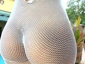 Demure Ana in her sexy fishnet bodysuit is pounding her pussy hard with toy...