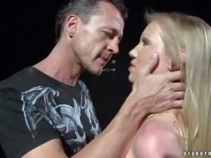 Fully nude slave blonde Kira Banks gets punished by kinky