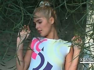 Horny Sasha working her naked delicate body