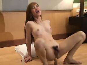 Pretty ladyboy pleauring her butt