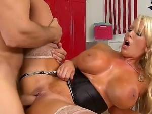 Voluptous blonde Alura Jenson teases and hard rides Ramonss massive cock