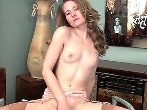 Skinny and all natural babe Vicky Marie in sexy stockings and gentle high...
