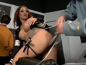Hot fucking laboratory trial of a nasty redhead whore Taylor Starr with huge...