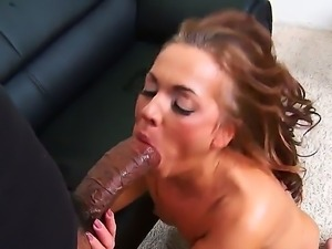 Skinny Claudia Atkins has problems while sucking on a huge moster dick